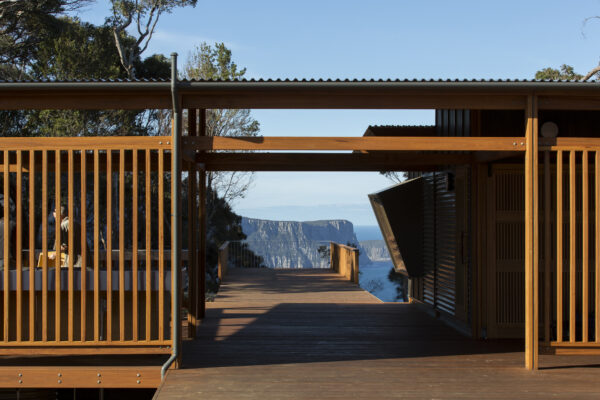 Jaws Architects Three Capes Track Cabins Award winning Tourism Commercial sustainable Architecture track view timber