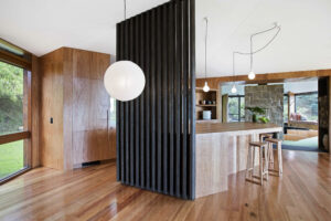 Jaws Architects Neika House Residential Mount Wellington Tasmania interior kitchen timber feature screen