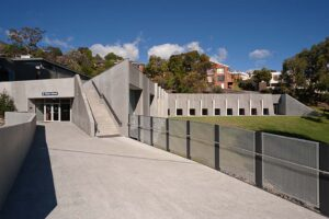 Jaws Architects Fahan Gym and performing arts public architecture exterior view entrance concrete
