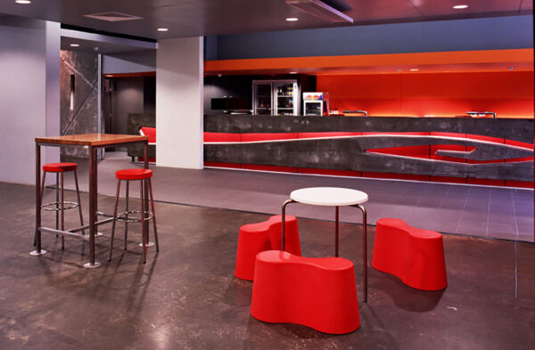 Jaws Architects Commercial Utas Unibar red seating interior Sand Bay Tasmania