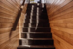 pumphouse point guest retreat internal staircase entry jaws architects