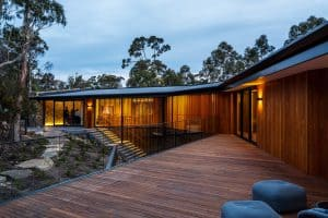 stringybark residence jaws architects hobart residential external courtyard